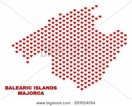 Mosaic Majorca Map Of Love Hearts In Red Color Isolated On A White Background. Regular Red Heart Pat