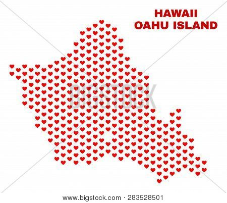 Mosaic Oahu Island Map Of Heart Hearts In Red Color Isolated On A White Background. Regular Red Hear