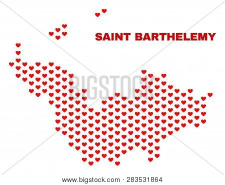Mosaic Saint Barthelemy Map Of Love Hearts In Red Color Isolated On A White Background. Regular Red