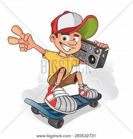Cool Boy Skater With Ghetto Blaster, Vector Cartoon Character