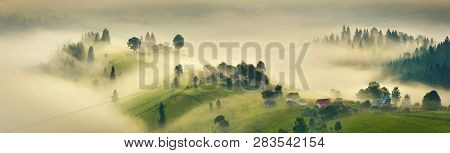 Misty Hills. Panoramic Landscape Of Misty  Highland.