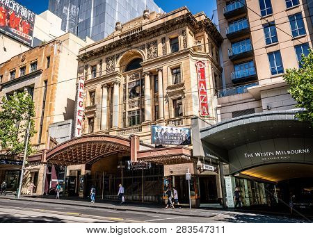 3rd January 2019, Melbourne Australia : Regent Theatre Building View And Current Play Ad For The Ill