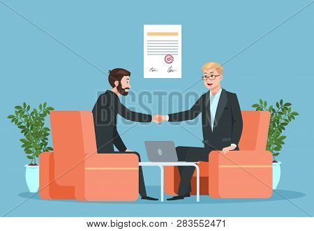 Business Contract. Partnership, Businessmen Handshaking After Signing Agreement. Purchase Deal Inves