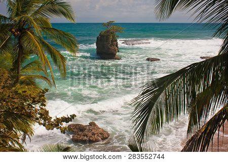 Giant Rock In Ocean Near By Costarican Coast