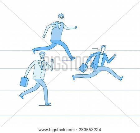 Running Businessmen. Jogging People Run Track Race Winning Team. Leadership Achievement Teamwork Com