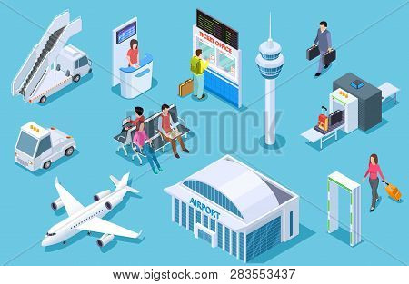 Airport Isometric. Passenger Luggage, Airport Terminal. Tower Plane Passport Checkpoint. Business Ai