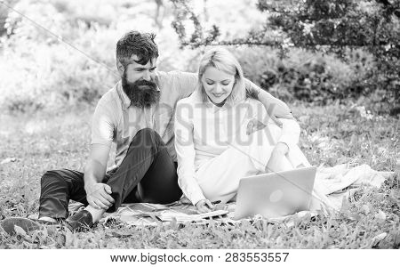 Freelance Life Benefit Concept. How To Balance Freelance And Family Life. Couple Youth Spend Leisure