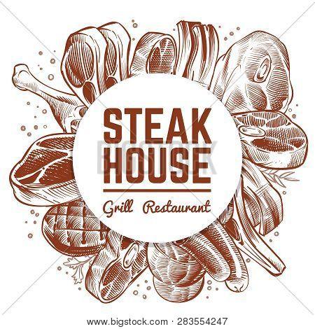 Steak House Grill Restaurant Menu Banner With Hand Drawn Meat Products. Steak House, Grill Restauran