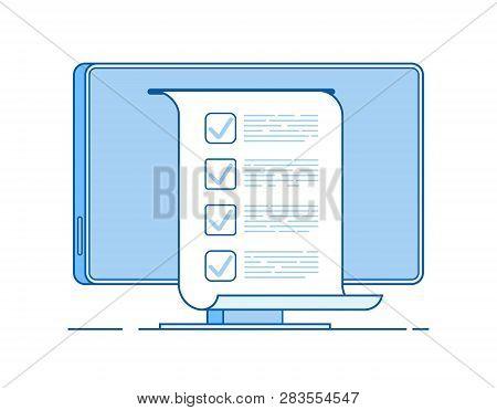 Online Test. Computer Quiz Form On Pc Screen. Online Checklist Testing Digital Exam Questionnaire Re