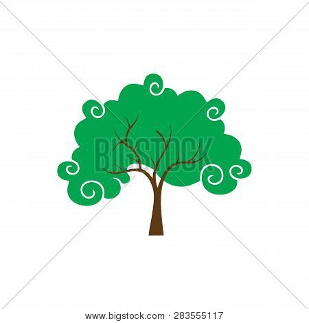 Decorative Tree And Leaves On White Background. Vector Illustration, Eco Tree, Vector Illustration T