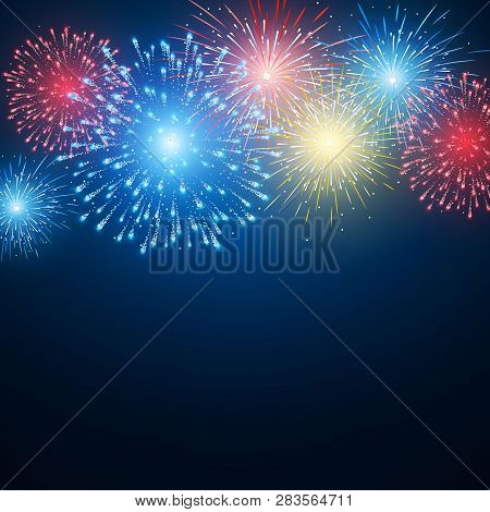 Fireworks. Festival Colorful Firework. Vector Llustration On Blue Background.