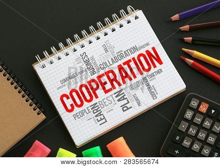 Cooperation Word Cloud In Notepad On Desktop, Business Concept Background