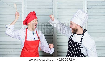 Who Cook Better. Culinary Battle Concept. Woman And Bearded Man Culinary Show Competitors. Ultimate