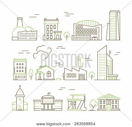 Line Art Buildings. Urban Living Houses And Villa Home Exterior Suburban Vector Colored Icon Collect