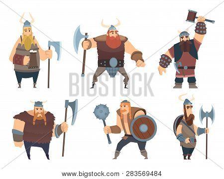 Viking Characters. Medieval Norwegian Warriors Military People Vector Cartoon Mascots. Illustration