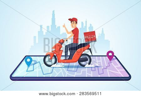 Pizza Motorbike Delivery. Urban Landscape With Food Courier Driving Bike Fast Delivery Vector Concep