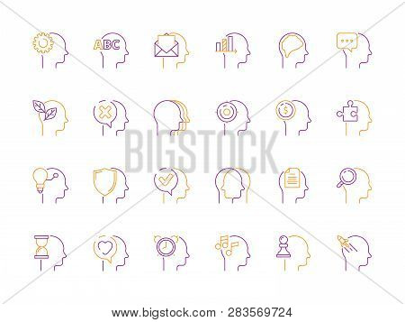 Head Mind Icon. Smart Idea And Creative Thinking Innovative Solutions Learning Mindfulness Vector Sy