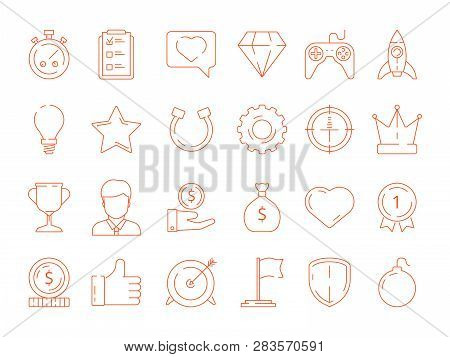Gamification Symbols. Business Achievements Rules For Gamers Competitive Managers Working Playing Ve