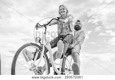 Bike Rental Or Bike Hire For Short Periods Of Time. Couple With Bicycle Romantic Date Sky Background