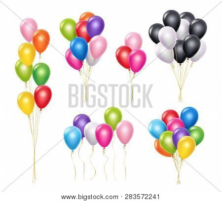 Transparent Balloons. Realistic Mockup 3d Flying Helium Party Decoration Balloons Vector Collection.