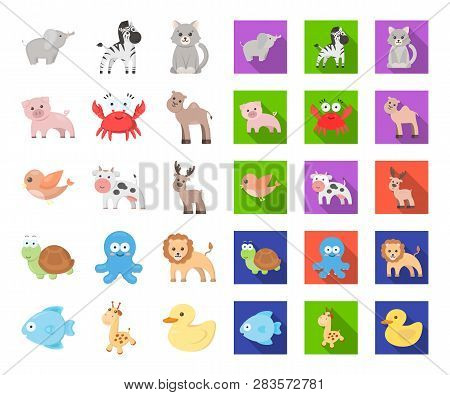 An Unrealistic Cartoon, Flat Animal Icons In Set Collection For Design. Toy Animals Vector Symbol St