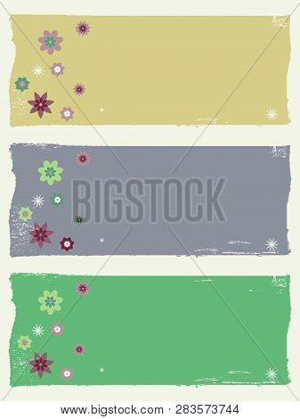 Trio Of Grunge Floral Panels Copy Space With Flowers And Stars Over Portrait Background