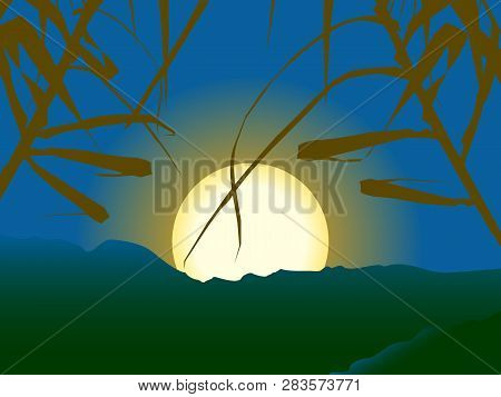 Sunset Or Sunrise Serene Scene With Close Up Plants And Big Sun Over Mountains Background