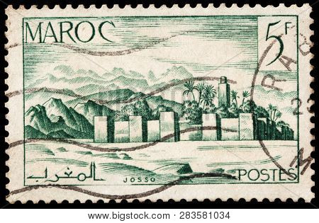 Luga, Russia - January 24, 2019: A Stamp Printed By Morocco Shows View Of Ancient Fortress, Circa 19
