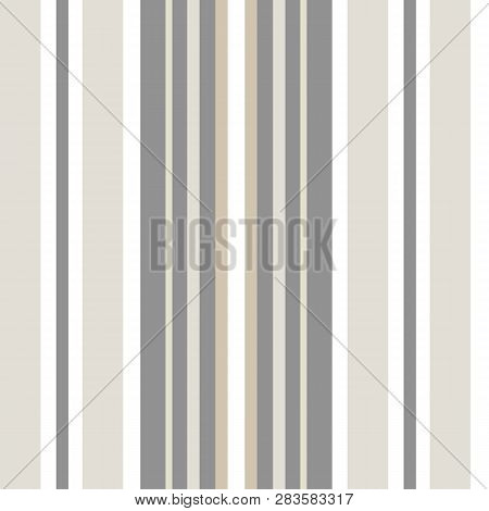 Classic Shirting Stripe In Warm Neutral Colors, White, Hues Of Brown, Grey. Seamless Vector Pattern.