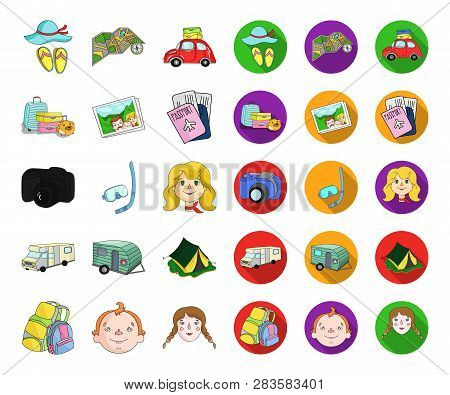 Family Holiday Cartoon, Flat Icons In Set Collection For Design. Recreation And Equipment. Vector Sy