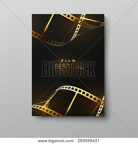 Film Festival Banner. Vector Illustration Of Golden Curled Film Strip. Design Template Of Movie Awar