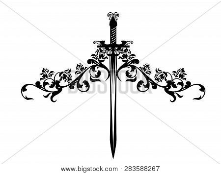 Sword Entwined With Rose Flowers Stems - Black And White Romantic Medieval Vector Design