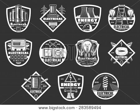 Electricity Industry And Energy Power Icons. Vector Electrical Service Equipment, Energy Saving Lamp
