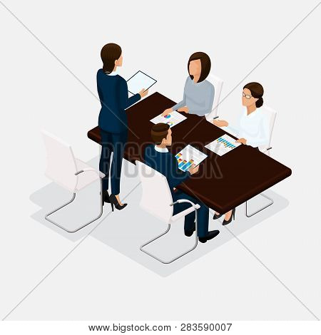 Isometric People, Businessmen 3d Business Woman. Discussion, Negotiation Concept Work, Brainstorming
