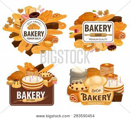 Bakery Shop, Patisserie Pastry And Baker Desserts. Vector Wheat And Rye Bread Loaf, Pancake And Ging