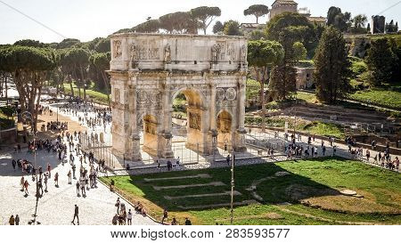 Rome, Italy - October 23rd: Arch Of Constantine Surrounded By Tourists In Rome, Italy In Rome, Italy