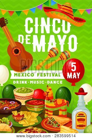 Cinco De Mayo Mexican Party On 5 May Holiday In Mexico. Vector Balloons And Bunting Flags, Tradition
