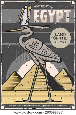 Egypt Travel And Ancient Egyptian Culture Tours Poster. Vector Bennu God Or Heron Bird Deity And Egy