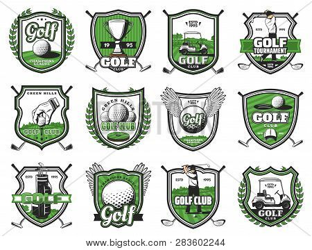 Golf Club Badges Of Ball With Wing, Champion Cup And Golf Cart. Vector Golf Sport Championship Heral