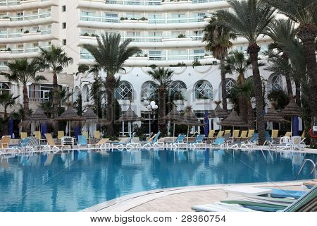 Luxury exclusive hotel swimming pool poster