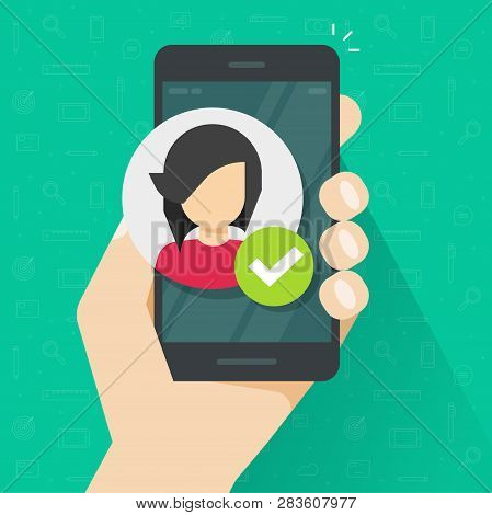 Identity Proof Via Mobile Phone Vector Illustration, Flat Verified Person Id On Smartphone, Cellphon