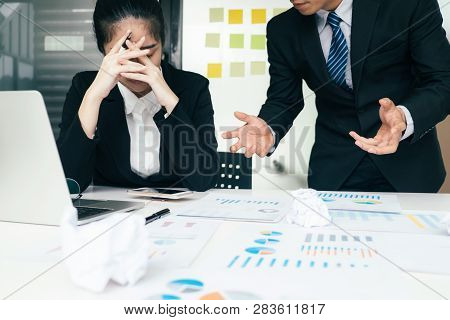 Business Teamwork Blaming Partner And Serious Discussion.