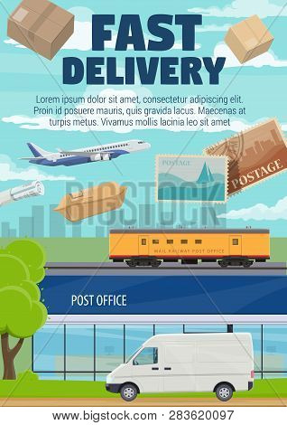 Fast delivery, post office mail, correspondence and parcels shipping. Vector post office and express delivery courier van with newspapers and letter envelopes cargo on airplane or railroad freight poster