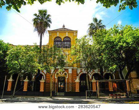Sevilla, Spain - 27 April 2015. Escuela Del Magisterio Y Practica Aneja. Beautiful Summer Day In Sev