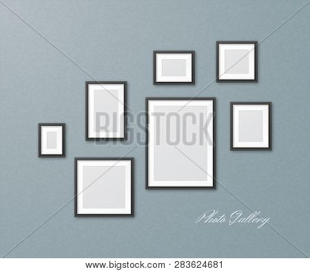 Set Of Black Photo Frames Of Different Sizes On Textured Wall. Vector Realistic Mockup Of Empty Pict