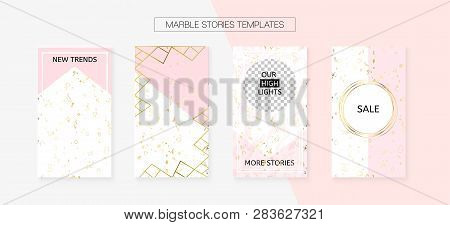 Stories Template Cool Vector Smm Layout. Textured Brand Design Pack. Social Media Blogger Covers Set