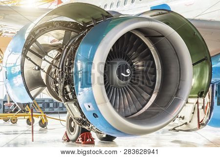 Turbine Engine Jet Of Aircraft With Open Hoods, View Of The Engine Mechanism