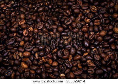 Many Raw Coffe Beans. Texture Coffe Beans. Dark Texture Coffe Beans. Photo For Coffeshop. Picture Fo