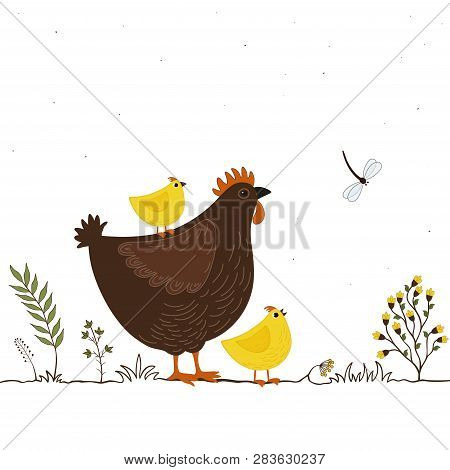 Illustration Of Funny Cartoon Chickens And Butterfly On White Background