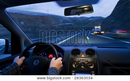 Inside car view at high speed and blurred accident